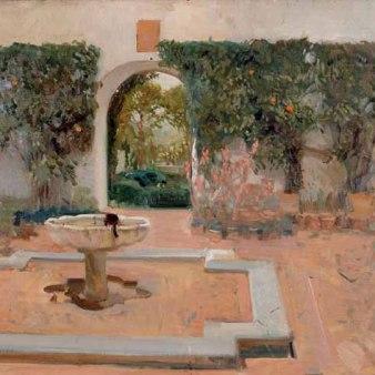 Fuente y patio del Alcázar de Sevilla. 1910